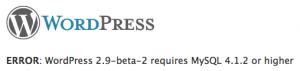 Wordpress 2.9 требует MySQL 4.1.2